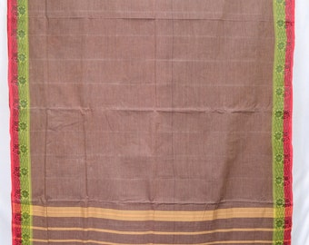 Pure Cotton Floral Striped Brown Vintage Indian Textile Fabric Saree Sari   TP1422