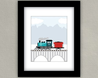 Train Art Print - Boy Nursery Decor - Transportation Set - Teal Blue and Orange