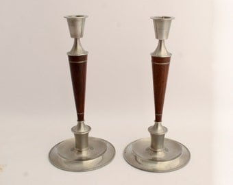 Pewter and Rosewood Candle Sticks Danish Modern Free Shipping