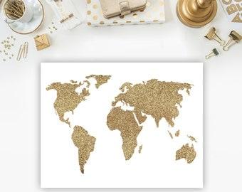 Printable poster gold glitter printable art gold glitter map gold poster gold wall art travel wall art nursery wall art glitter map print
