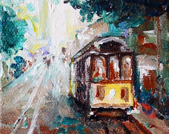 "Cable Car at Powell Street San Francisco California Painting by marinelaArt - Acrylic Fine Art on 3"" x 3"" Large Canvas Paintings"