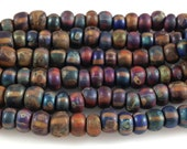 3 Strands Matte Candy Age Striped Picasso Czech Glass Beads 6/0