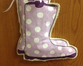 Rain Boot Burlap Door Hanger