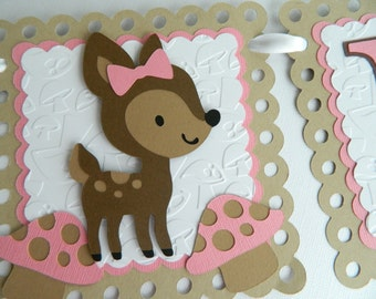 Girl Fawn Name Banner Fawn Birthday Banner Fawn Decorations Fawn First Birthday Personalized Fawn Banner Fawn Baby Shower