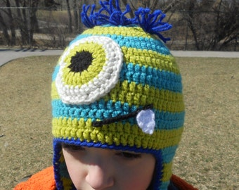 Crochet Monster Earflap Hat - Blue and Green Stripes, Baby, Child, Teen and Adult Sizes, Boys Monster Hat, Monster Hat