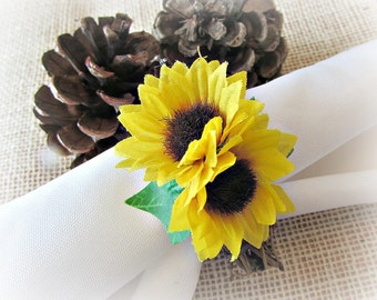 Sunflower Napkin Rings, Yellow Flower Napkin Rings, Summer Napkin Rings, Rustic Grapevine Napkin Rings, Rustic Summer Table Decor Decoration