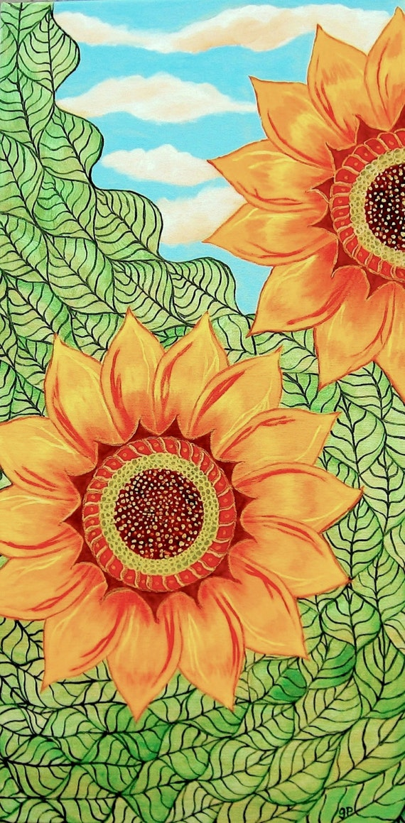 Sunflower painting acrylic original zentangle style 12 x for How to paint sunflowers in acrylic