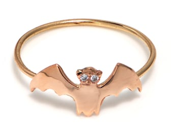 14K Gold Bat Ring, Rose Gold Bat Ring