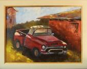 Old Red Truck, California landscape original plein air oil painting 16x12 framed