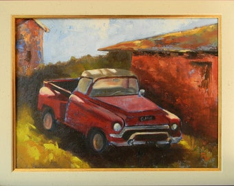 Old Red Truck, California landscape original plein air oil painting 16x12 framed
