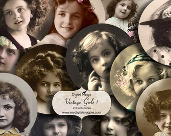 digital collage sheet 2.5 inch circles vintage children girls instant download round images for pocket mirrors