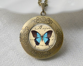 Butterfly Locket Necklace Art Photo Print Jewelry Locket Pendant Gift For Her (005)