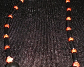 Obsidian Necklace with Coral