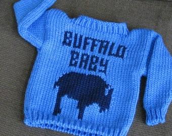 Handknit Buffalo Baby Sweater