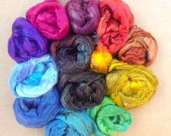 Hand Dyed Silk Brick, Grade A1 Mulberry Silk Brick Selection, Silk Roving, Mulberry Silk Tops, Pick and Mix, Spinning, Feltmaking