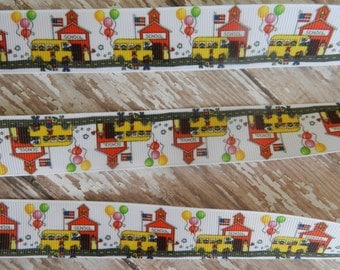 3 Yards of 1 Inch Little Red School House with  Bus Grosgrain Ribbon