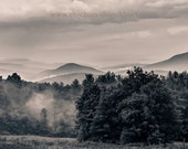 Foggy morning nature photograph, black and white landscape photo, Vermont Mountain view, 8x10 or 12x18 Fine art print, Photo mats available