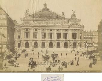 Paris Opera House people carriages antique photo France