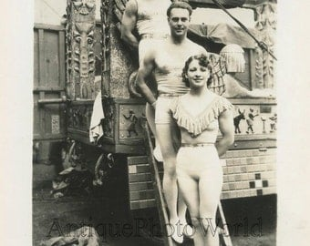 Circus acrobats in costumes antique photo Ringling Bros.