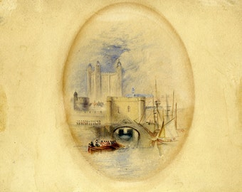 Traitor's Gate London UK antique British 19th century watercolor painting drawing
