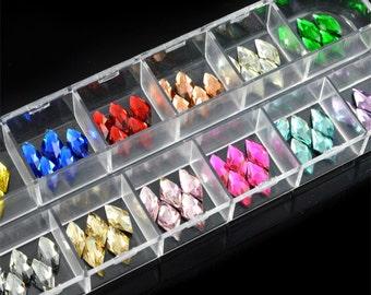 120pcs 12-color Rhombic 3D flatback acrylic Rhinestones of Nail Art Design Glitter Beads Crafts supplies (5mm)