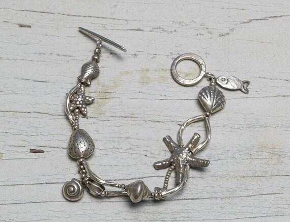 Fine silver low tide sealife seashell bracelet handmade by ladeDAH! jewelry