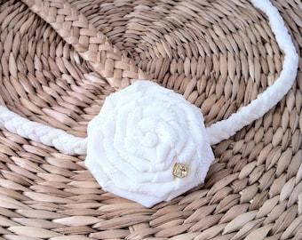 Baby soft headband  for christening, baptism, wedding, flower girl, ivory rosette