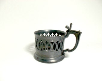 Knickerbocker Silver Co  Cup Holder Metal with Spoon Rest on Handle, Marked 1380, Drink Sleeve, Old World, Rustic, Primitive