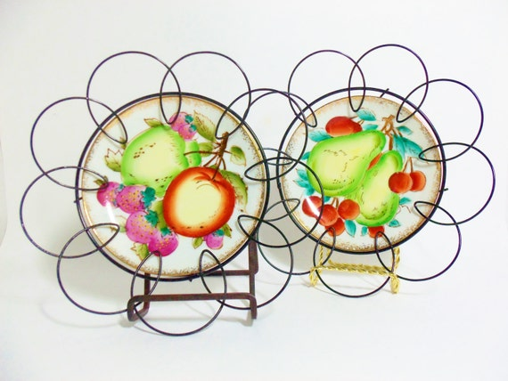 Wall Decor Kitchen Plates Fruit Design Original Scrolled Wired Frames Farmhouse Country Style