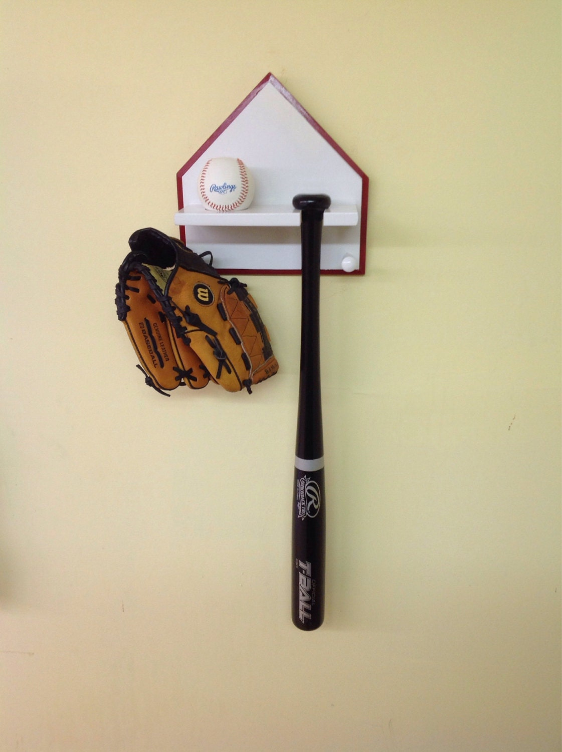 Home Plate Baseball Bat And Ball Display Rack Woodpainted