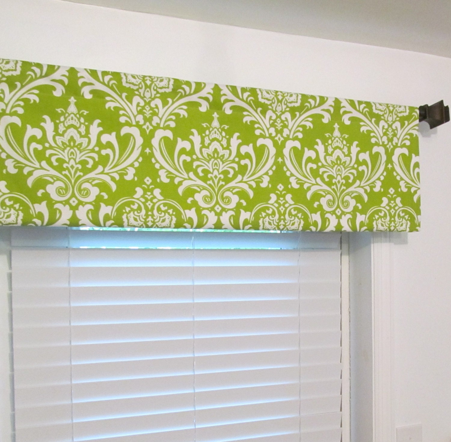 Chartreuse White Damask Valance Rod Pocket Curtain By Oldstation