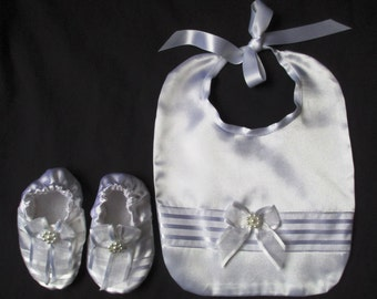 Infant Baby Girl/Boy Satin Christening/Baptism/Wedding/ Special Occasion Bib & Booties Set