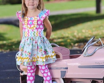 Sale...Buy 2 Get 1 Free Instant Download PDF Sewing Pattern Four Seasons Flat Front KNIT Peasant Top Dress, Sz 0-3m to Girls 12
