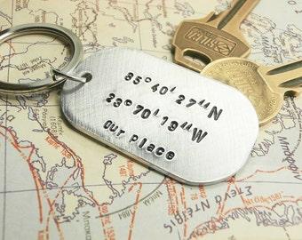 Personalized Aluminum Keychain Dog Tag, Handstamped Coordinates, Initials, Names, Dates Men Groomsmen Father Dad Boyfriend Anniversary Gift