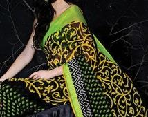 Black and Lime Green Printed Georgette Sari