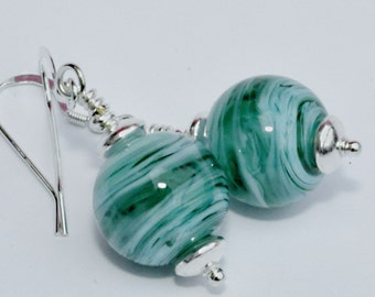 Lampwork Bead Earrings -  Green and Blue Round- Sterling Silver Wires