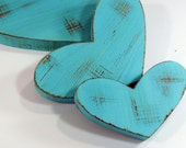 3 Rustic Wooden Hearts- You Choose Color- Home Decor- Cottage Chic-Shabby-Distressed Wood- Weddings- Milk White