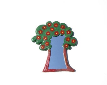 Decorative wall mirror green and brown tree shaped with red flowers