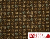Brown and Tan Fabric, Penny Rose by Becky Taunton for Newcastle Fabrics, Quilt or Craft Fabric, Fabric by the Yard