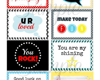 INSTANT Download Encouraging School LUNCH BOX Notes - (8) Printable lunchbox Images for kids