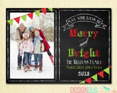 Chalkboard Christmas Card - Family Photo Xmas Card - Merry and Bright Red and Green Chalkboard - 1 or 2 Pictures - Printable, Digital File