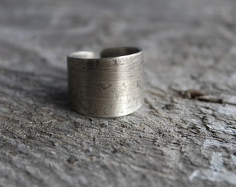 Wide Steel Hammered Sterling Silver Cigar Band Ring
