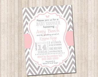 Custom Pink & Gray Baby Girl Chevron Invitation