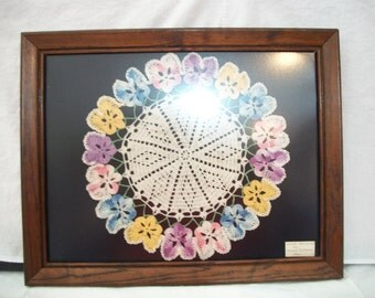 Vintage Colorful Framed Doily Doilie 1960 Shabby Chic