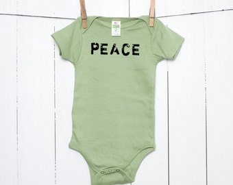 Peace Organic Cotton Baby Bodysuit Infant Creeper One Piece Bodysuit Sustainable Clothing Baby Clothes Grunge Style Green Romper Layette