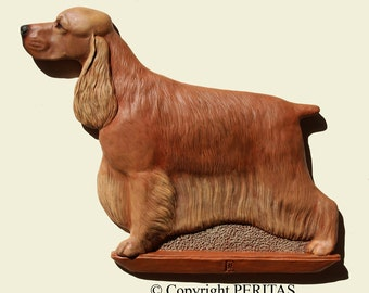 Hand painted red English Cocker Spaniel dog wall sculpture statue fine art relief