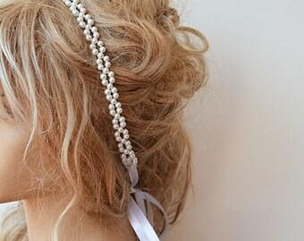 Pearl Bridal Hair, White Pearl Headband Wedding, Pearl Headband, Wedding Hair Accessory, Wedding head pieces,  Wedding Hairstyle