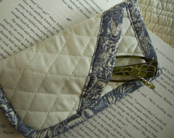 Quilted Eyeglass Case, Blue & Cream Sunglass Case