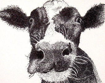 Cow Original Pen and Ink Pointillism Drawing