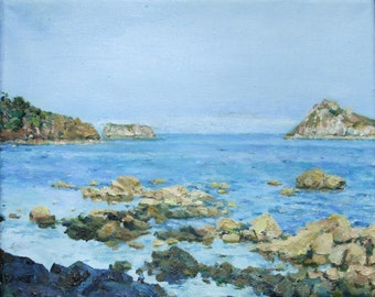 "PRINT REPRODUCTION of  the original painting ""View from Meadfoot Beach, Torquay"" on paper"
